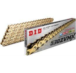 Catena DID 530 ZVM-X Gold & Gold passo 530 120 maglie con X-RING e giunto a rivetto