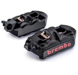 Coppia pinze freno Brembo Racing M4 monoblocco radiali forgiate color NERE interasse 108mm con pastiglie
