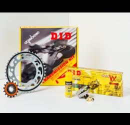 Kit trasmissione DID per BMW F 650 GS 99-07 - G 650 GS 08-15 (Catena DID 520-VX3 114 maglie - Pignone 16 - Corona 49 - Passo 520) modifica corona +2