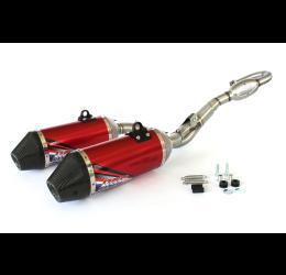 Scarico completo HGS T1 con collettore in acciaio e terminale alluminio con fondello in carbonio per Honda CRF 450 R 13-16 Rossi (Coppia)
