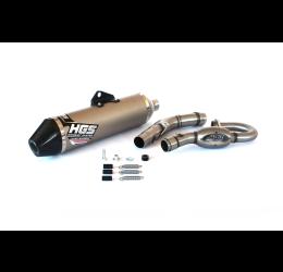 Scarico completo HGS T1 con collettore in acciaio e terminale alluminio con fondello in carbonio per Kawasaki KX 250 F 2020
